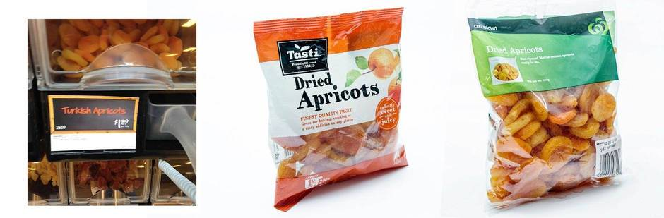 Supermarket prices apricots