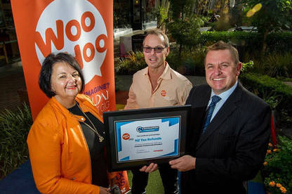 WooHoo - NZ Tax Refunds CEO Cilla Hegarty and director Aaron Hegarty with Consumer NZ's Derek Bonnar.