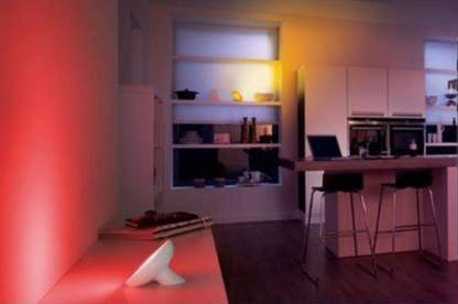 Philips Hue WiFi light bulbs allow you to experiment with all colours of the spectrum to create the desired atmosphere.