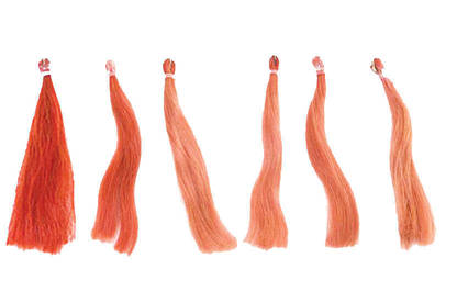 Left to right: the original unwashed hair; hair washed with water 12 times; hair washed with a shampoo for all hair types 12 times. The rest are washed with colour care shampoos 12 times.