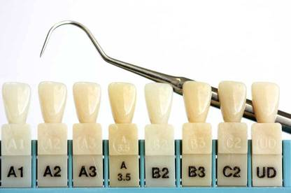 A dental tooth shade chart.