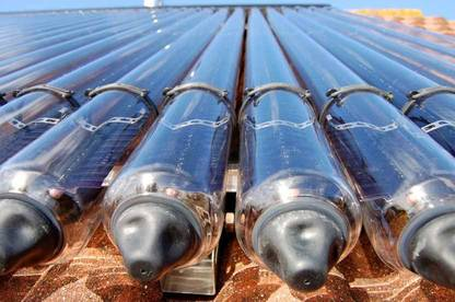 Detail of a roof-mounted solar hot water heating system.