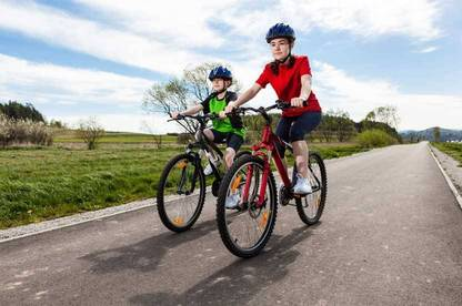 Always make sure the kids are wearing a bike helmet and not a skateboard, roller blade or scooter helmet which aren't designed for cycling on the road.